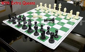 StonKraft 43x43 cm juego de ajedrez plegable de vinilo de torneo de con piezas de plástico sólidas (con una reina extra) - ideal para jugadores profesionales de ajedrez