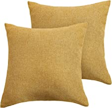 Deconovo Woven Fine Faux Linen Home Decorative Hand Made Pillow Case Cushion Cover with Invisible Zipper for Couch 18x18 inch Turmeric, 2 Pcs