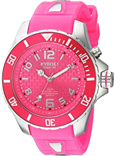 KYBOE! Power Stainless Steel Quartz Watch with Silicone Strap, Pink, 22 (Model: KY.48-044.15