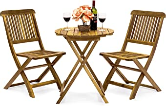 Best Choice Products 3-Piece Acacia Wood Folding Patio Bistro Set for Backyard, Balcony, Porch, Deck w/ 2 Chairs, Round Co...