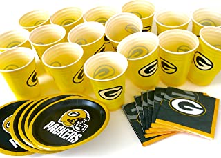 Green Bay Packers, 4th of July 48 piece snack party set. includes 16 plates 7