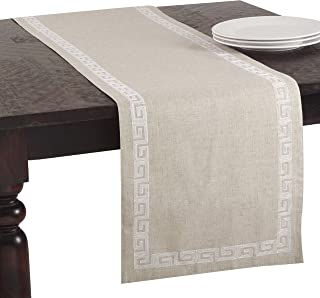 SARO LIFESTYLE Runner Calypso Collection Stitched Greek Key Design Table Runner/71510.W1670B, 16