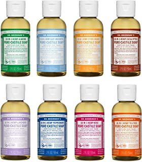 Dr. Bronner's - Pure-Castile Liquid Soap (2 Ounce Variety Gift Pack) Almond, Unscented, Citrus, Eucalyptus, Lavender, Pepp...