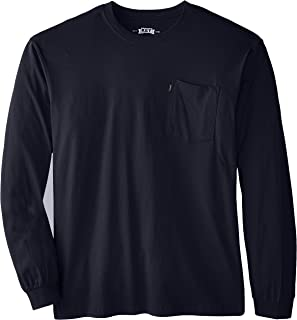 Men's Big & Tall Heavyweight Long Sleeve Pocket T-Shirt, Navy, 4X-Large/Tall