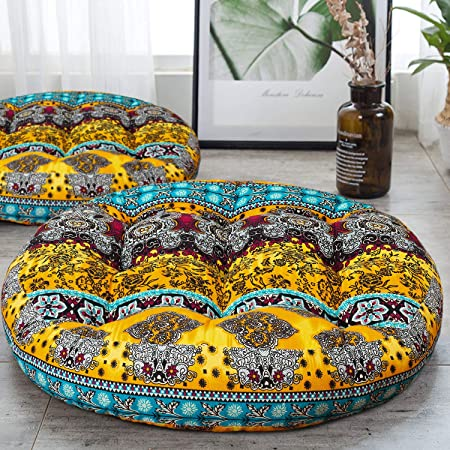 Decorative pouf Floor pillow Meditation cushion Unique home decor Tufted floor pillow Boho floor seating Fap087