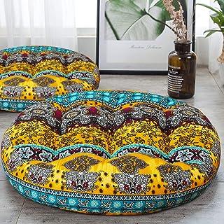 HIGOGOGO Round Bohemian Floor Cushion, Cotton Linen Boho Design Seat Cushion for Adults Kids, Thick Meditation Pillow for Yoga Living Room Sofa Balcony Outdoor, Yellow, 22x22 Inch, 1 Pack