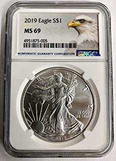 2019 Silver Eagle W/Eagle Label $1 MS-69 NGC