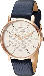 Nautica Women's Coral Gables Stainless Steel Japanese-Quartz Leather Strap, Blue, 17.6 Casual Watch (Model: NAPCGS011