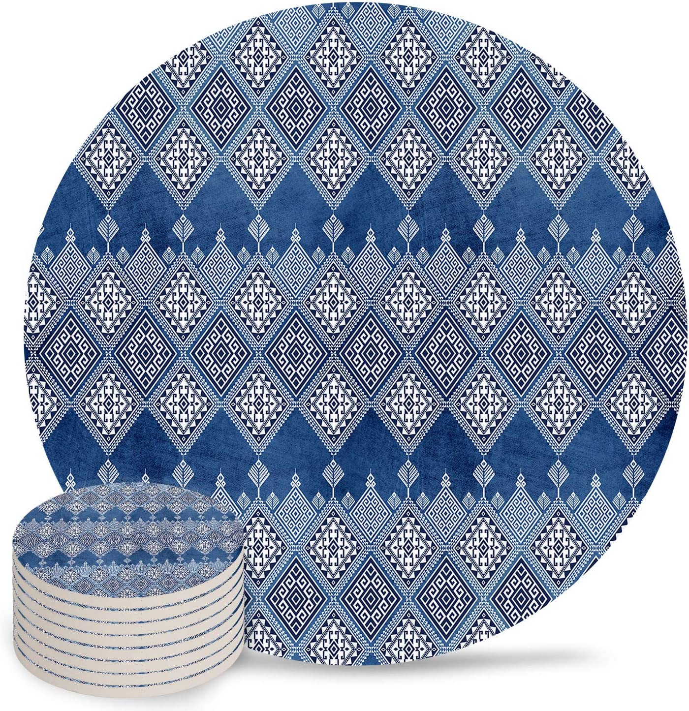 Max 61% OFF Absorbent Coasters Ceramic Cups Place Style Mats store Geometri Ethnic