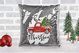 Personalized Family Name Christmas Truck Sequin Throw Pillow