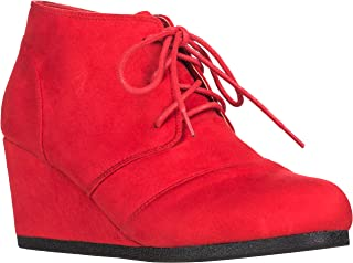 Women's Round Toe Lace Up Wedge Heels Suede Ankle Boots Booties