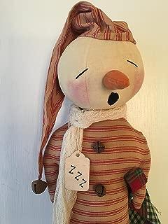 Primitive Folk Art Christmas Sleepy Snowman
