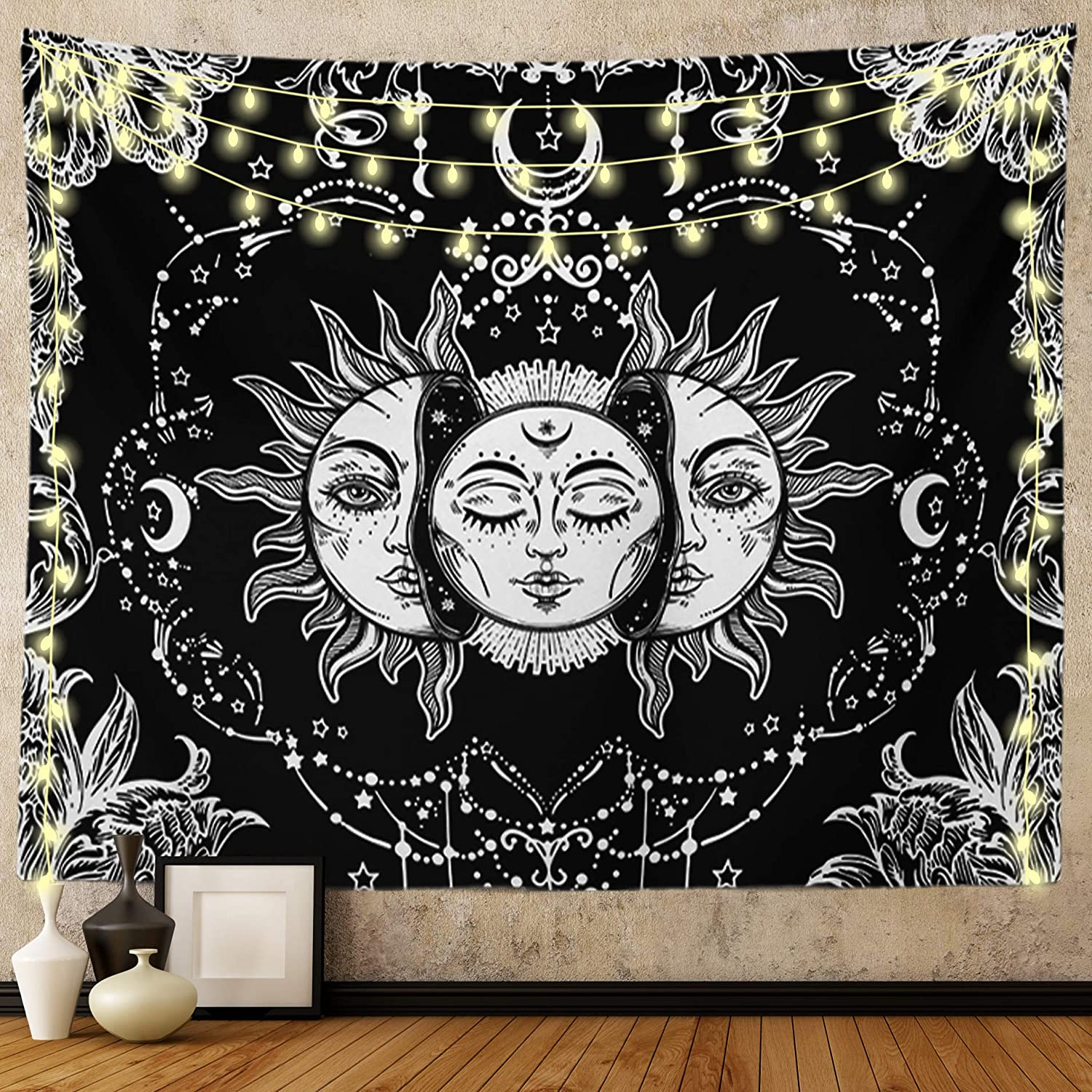 Ftuency Sun and Moon Tapestry, Black and White Tapestries Mystic Burning Sun with Star Wall Hanging decor for Bedroom(82.7