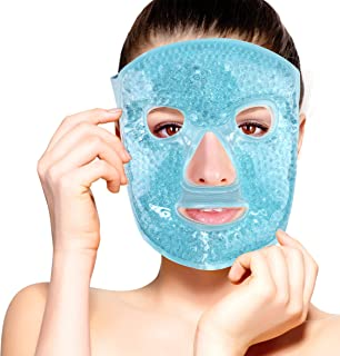 Hot and Cold Therapy Gel Bead Full Facial Mask by FOMI Care   Ice Face Mask for Migraine Headache, Stress Relief   Reduces Eye Puffiness, Dark Circles   Fabric Back (Full Face w/Eye Holes)