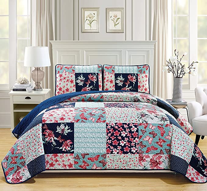 Linen Plus King//California King 3pc Over Size Quilted Bedspread Floral Turquoise Grey White Navy Blue New