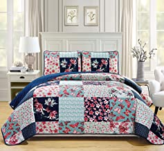 Fancy Collection Twin/Twin Extra Long Oversize Quilted Bedspread Coverlet Set Floral Butterfly Navy Blue Off White Teal Green Pink New