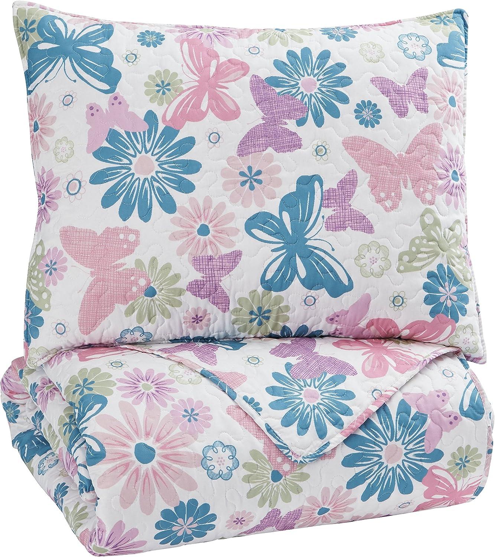 Signature Design by Ashley Q318001T Jobeth 2 Piece Quilt Set, Twin, Multicolor