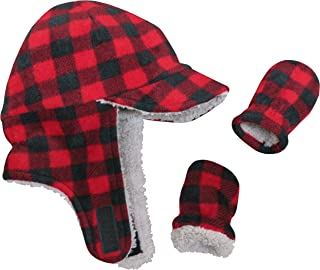 Little Boys and Baby Sherpa Lined Fleece Flap Hat Mitten...