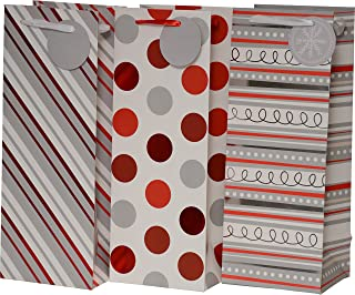 Christmas Gift Bags for Wine, foil hot-Stamp Striped, Swirl and Polka dot Designs in red White & Gray, Set of 24 Heavy Duty Bottle Bags for Wedding, Holiday and All Events (Wine Bottle)
