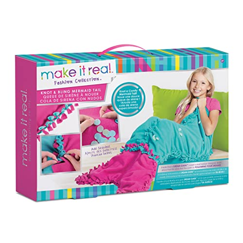 Make It Real - Knot & Bling Mermaid Tail Blanket. Educational DIY Arts and Crafts
