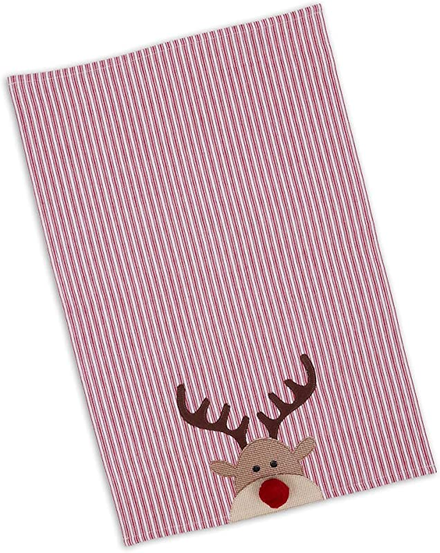 Candy Striped Red Reindeer 28 X 19 Cotton Decorative Dish Towel