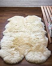 Super Area Rugs Genuine Sheepskin Rug Four Pelt Beige/Champagne Fur, Quarto