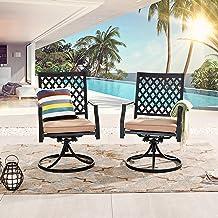 LOKATSE HOME Outdoor Patio Dinning Swivel Chairs Rocker Set of 2 Metal for Garden Backyard Furniture, Beige Cushions