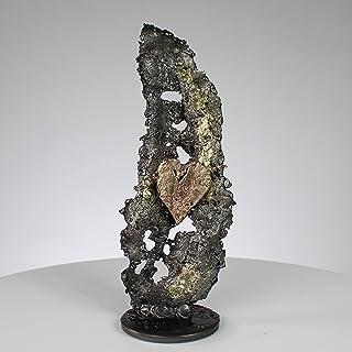 En el corazón de las hojas CXXXIII - Escultura metal corazón bronce y hoja acero latón - Philippe Buil