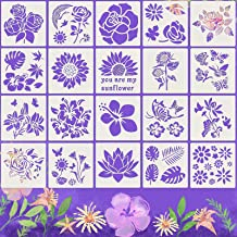 20 Pieces Flower Stencil Flower Drawing Stencils in Different Patterns DIY You are My Sunflower Theme hollowout Template D...