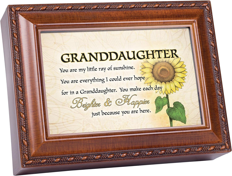 Cottage Garden Granddaughter Ray of Sunshine Woodgrain Rope Trim Jewelry Music Box Plays You are My Sunshine
