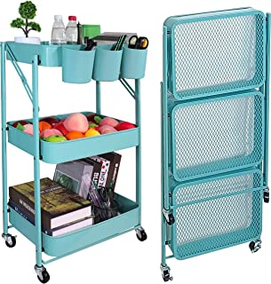 Aewio 3-Tier Foldable Metal Rolling Utility Cart Organizer Shelf Storage Cart with 3PCS Cups for Office Home Kitchen Bathr...