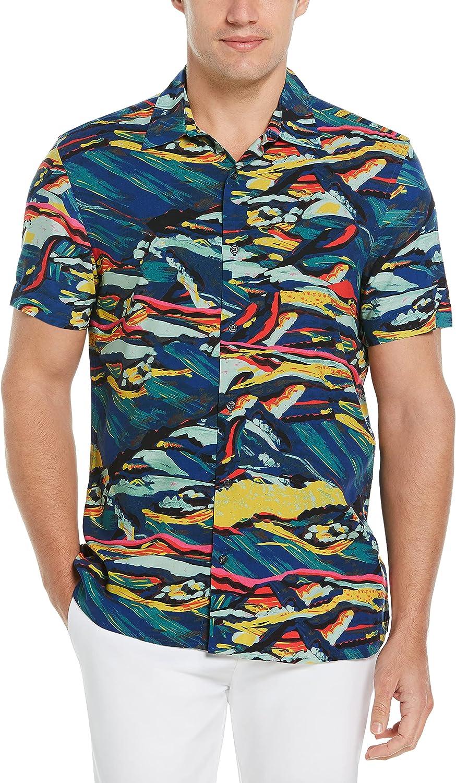 Perry Ellis Men's Abstract Landscape Print Shirt