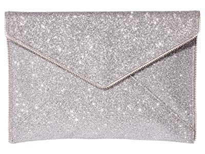 Rebecca Minkoff Glitter Leo Clutch (Silver) Clutch Handbags