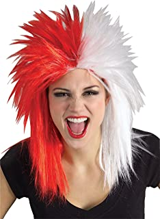 Red and White Sports Fan Wig, Red/White, One Size
