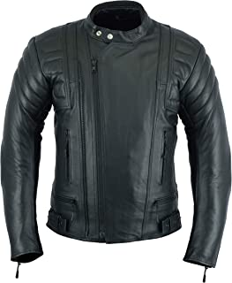 MENS MOTORCYCLE ARMORED MOTOR SPORTS HIGH PROTECTION LEATHER(FULL GRAIN) JACKET BLACK LJ-2020MR (L)