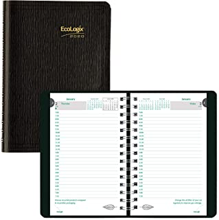 Brownline 2020 EcoLogix Daily Appointment Book, 100% Recycled Twin-Wire, Black, 8 x 5 Inches (CB410W.BLK-20)