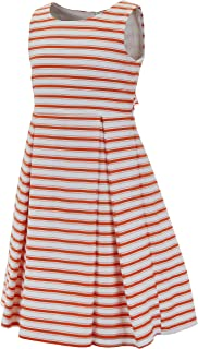 Emma Riley Girls' Printed Stripe Dress with Pleated A-Line Skirt