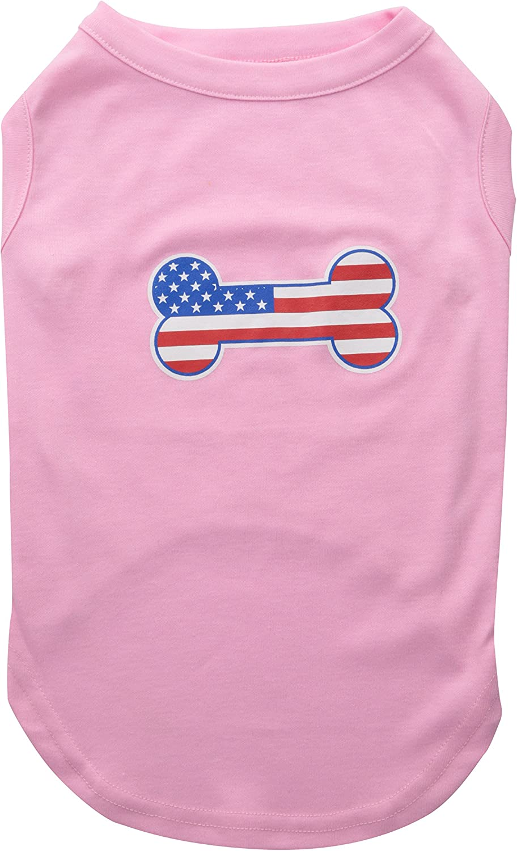 Mirage Pet Products Bone Shaped American Flag Screen Print Shirt, XLarge, Light Pink