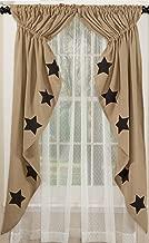 Olivia's Heartland Deluxe Burlap Natural Tan Stencil Star Prairie Curtain