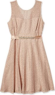 Sharagano Women's Lace Vneck Fit and Flare Belted Dress