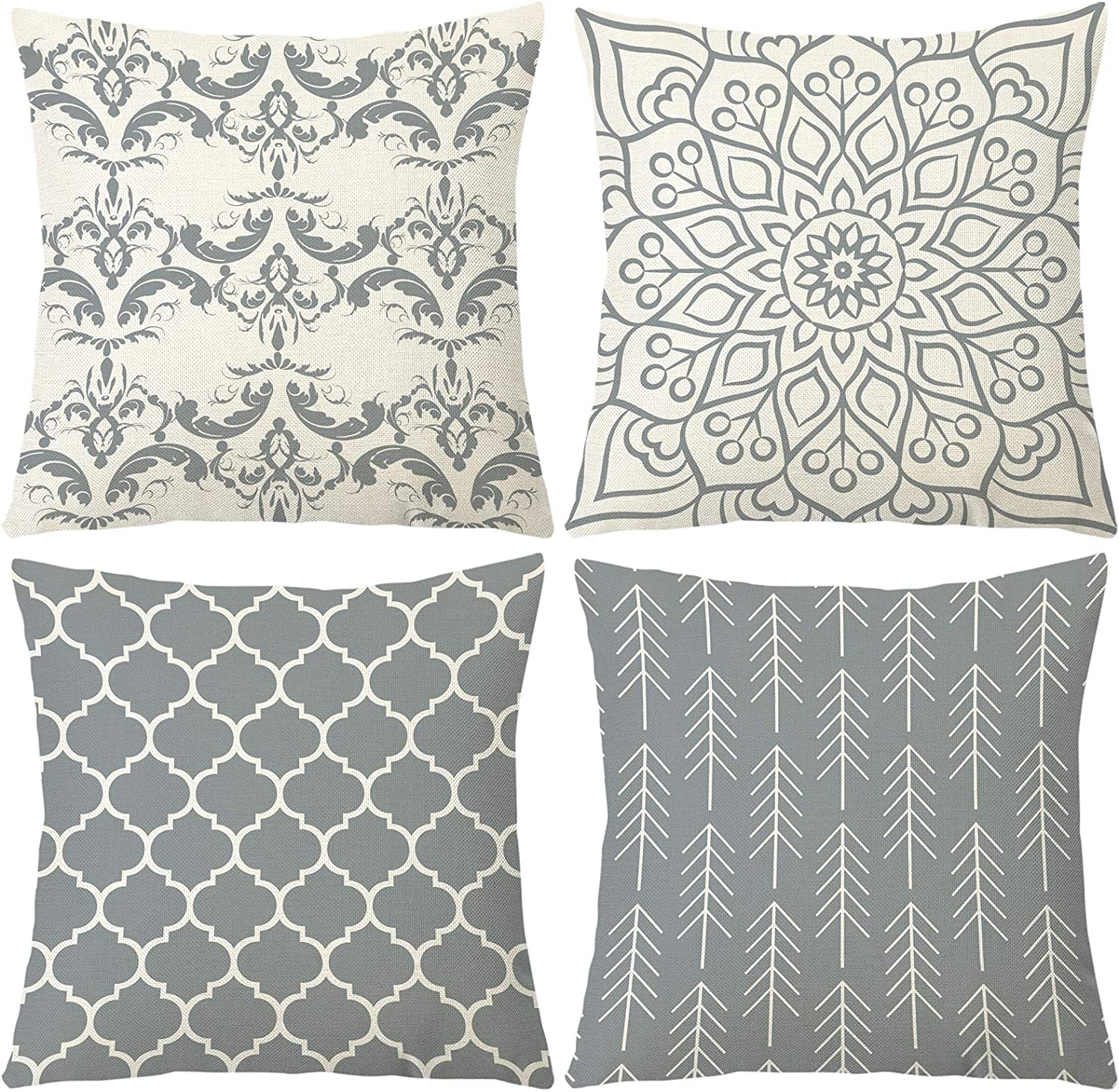 Ftuency Pillow Covers 18x18 Inches Set of 4, Modern Geometric Decorative Throw Pillow Cover, Square Sofa Linen Cushion Case for Couch Bed Car Decor 45x45cm (Grey, 18