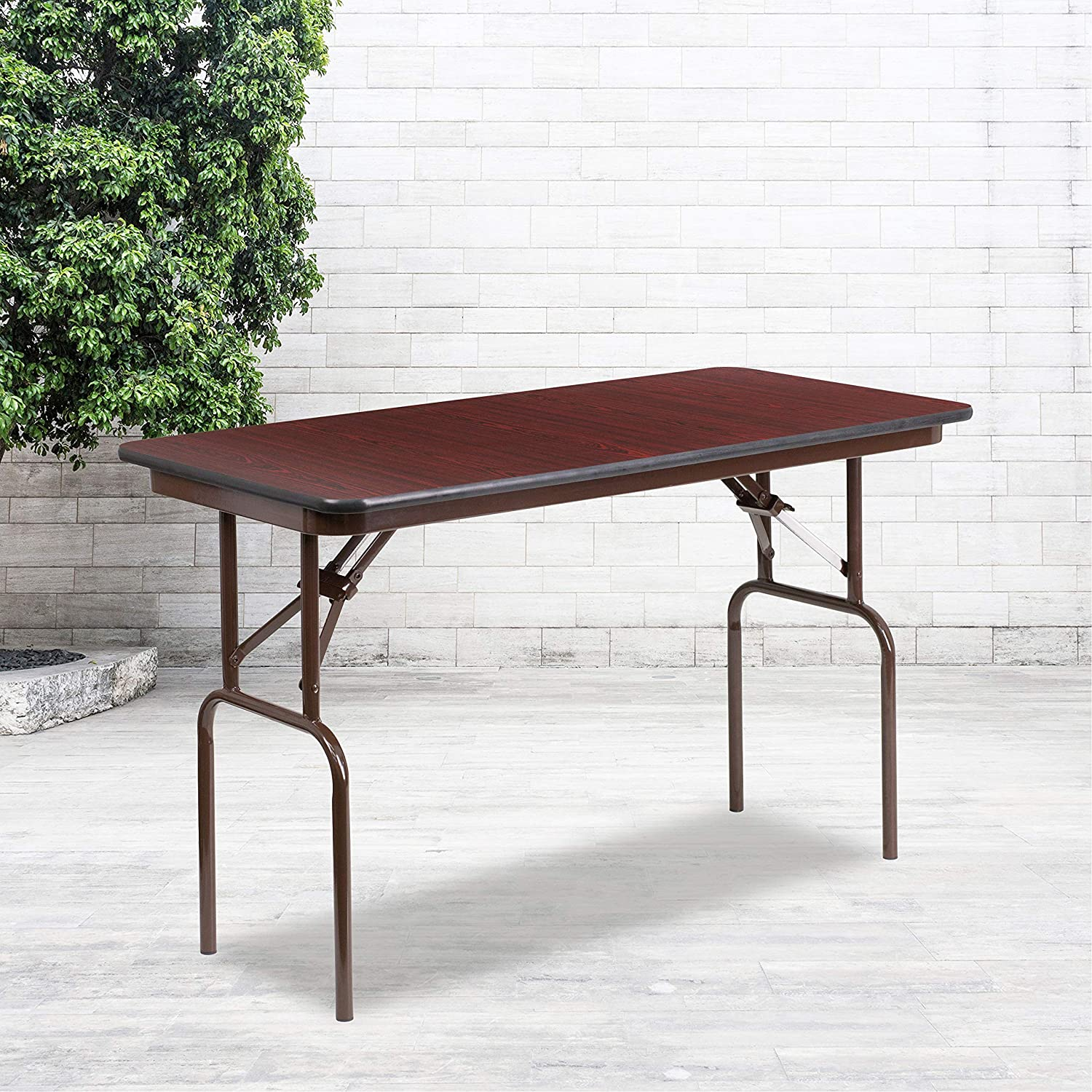 Flash Furniture Cheap mail order specialty store 4-Foot Mahogany Banque Laminate Limited Special Price Folding Melamine