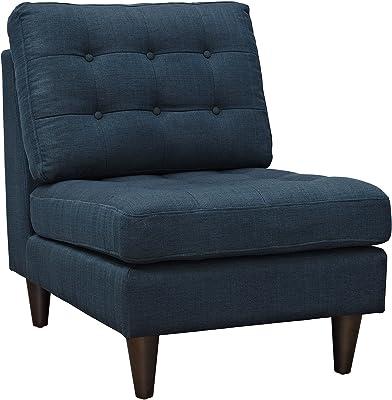 Modway EEI-2140-AZU Empress Mid-Century Modern Upholstered Fabric Side Armless Lounge Accent Chair Azure