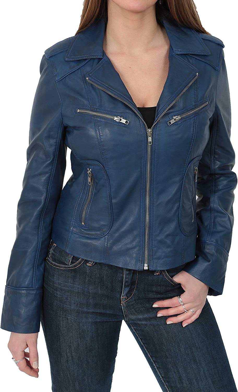 Womens Real Lambskin Leather Biker Style Fitted Casual Jacket Kim Navy bluee
