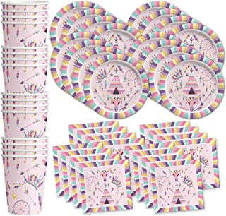 Pink Tribal Boho Girl Birthday Party Supplies Set Plates Napkins Cups Tableware Kit for 16
