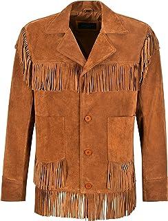 Mens Western Fringe Leather Jacket Tan Classic Fringe Real Suede Jacket 4198