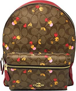 COACH F31372 Medium Charlie Backpack in Signature Canvas with Cherry Print