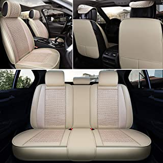 INCH EMPIRE Car Seat Cover Full Set Artificial Leather with Knit Ice Silk - Adjustable Car Seat Cushion Fit for Passat Jetta CC Cruze Malibu Equinox Sportage NIRO Optima Forte Rio Accord CR-V (Beige)