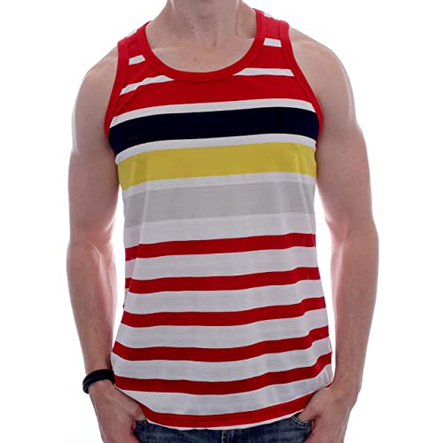 1c55e375765 Enimay Men s Striped Summer Hulk Beach Tank Top Slim Fit Gym Muscle Shirt