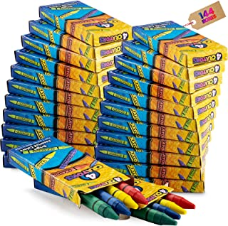Bulk Crayons - (144) 4-Packs of Premium Color Crayons for Kids and Toddlers Non-Toxic Perfect for Party Favors Restaurants...